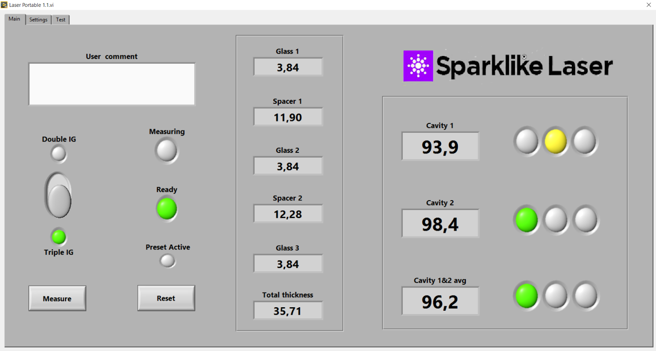 Example results on Laser Software by Sparklike when measuring a triple glazed IGU